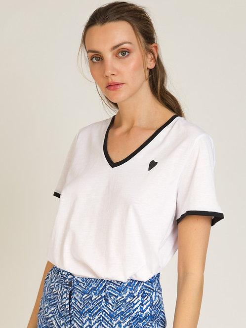 White V-neck T-Shirt w/ Black Heart