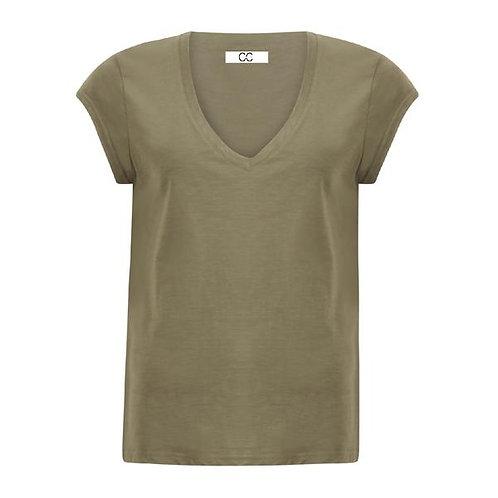 CC Heart V-Neck T- Shirt Night Green