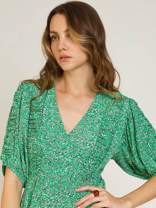 Short Dress with Short Sleeves Green
