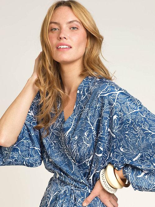 Long Printed Kimono Blue/White