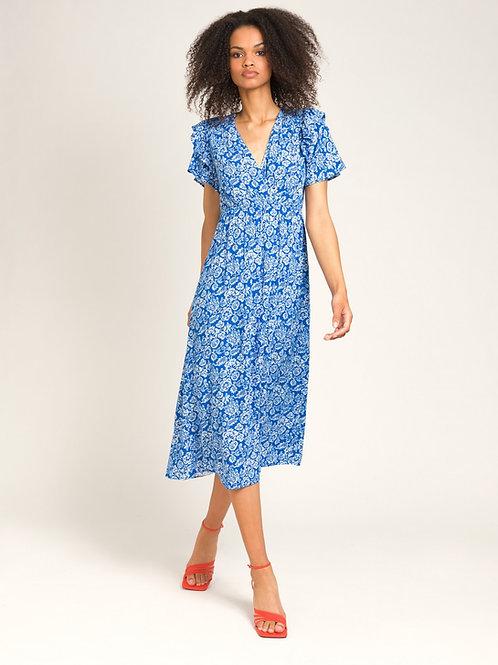 Printed Midi Dress Blue/White