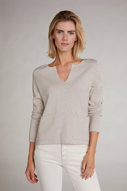 Cream Knit Sweater with Pockets