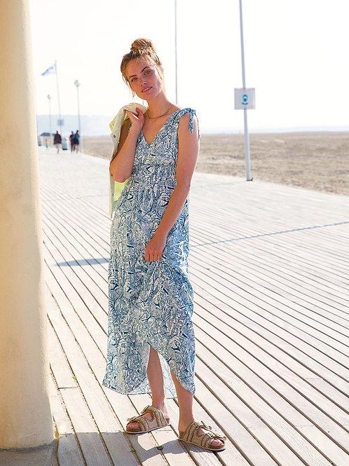 Long Flowing Tie-Shoulder Jungle Print Dress