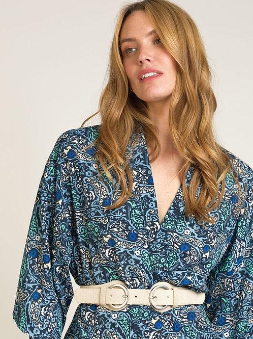 Long Printed Kimono Blue
