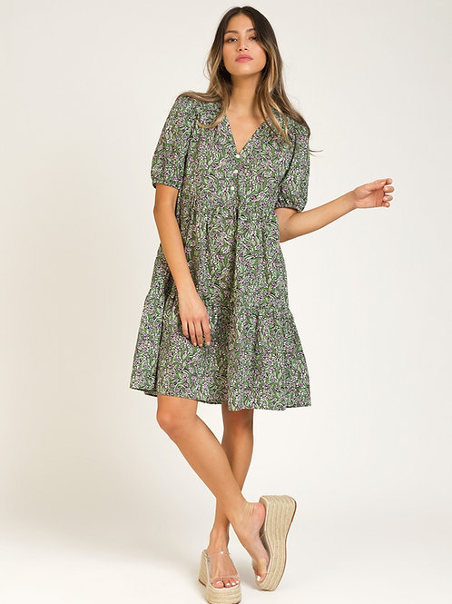 Short Printed Cotton Dress with Ruffles - Green Leaf Print