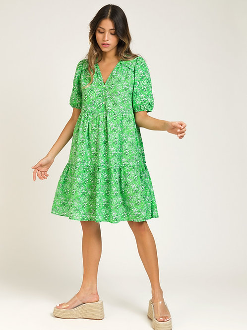 Short Printed Cotton Dress with Ruffles - Bright Green