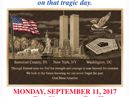 Please join us for this year's 9/11 Ceremonies.