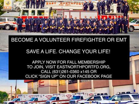 Volunteer Firefighters and EMT's needed!!