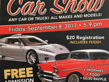 Car Show Friday September 8, 2017 5-9 PM. Please call 631-261-0360 ext. 118 to register.