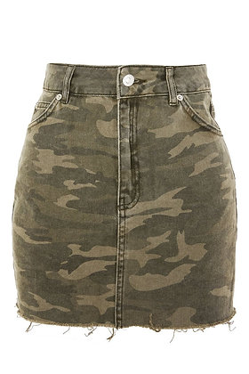 Denim Camo Short Skirt