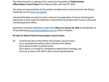 Call for Applicants: District 18 Political Action Officer