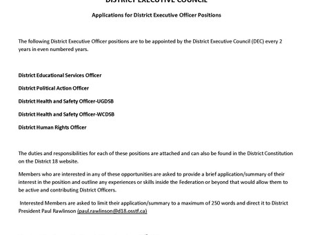 Call for Nominations -District 18 Officers