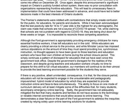 OSSTF Statement on Closure of Schools