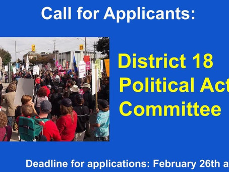 Members Needed:  District 18 Political Action Committee