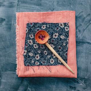 Madder dyed vintage linen.
