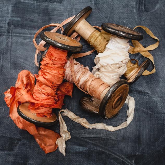 Natural dyed silk ribbon