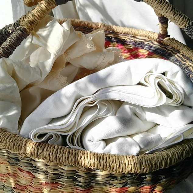Lovely vintage  linens and lace waiting