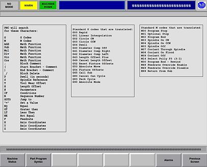 Henshaw PNC CNC G-Codes and M-Codes machine codes