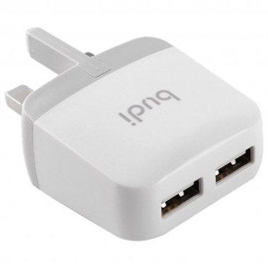 BUDI DUAL USB HOME CHARGER FLODED UK PLUG (940U)