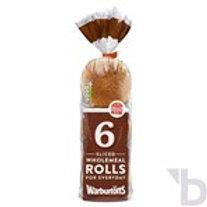 WARBURTONS 6 SLICED WHOLEMEAL ROLLS