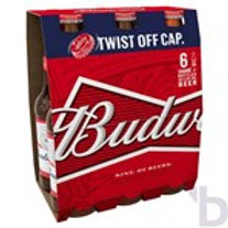 BUDWEISER LAGER BEER BOTTLES 6 X 300 ML