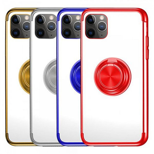 PLATING SOFT TPU PROTECTIVE PHONE CASE WITH RING HOLDER FOR IPHONE 11 PRO