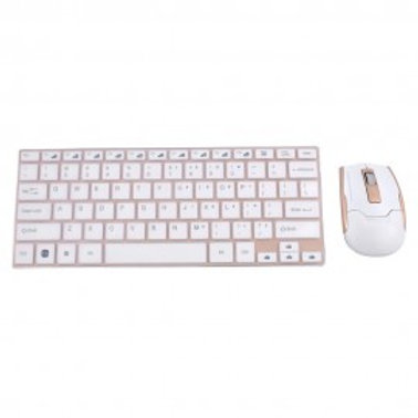 HK 3910 WIRELESS KEYBOARD AND MOUSE WHITE & GOLD
