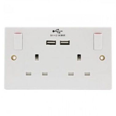 PIFCO 2WAY SWITCHED WALL SOCKET WITH DUAL USB 2.1A