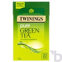 TWININGS PURE GREEN TEA 20 SINGLE TEA BAGS 50 G