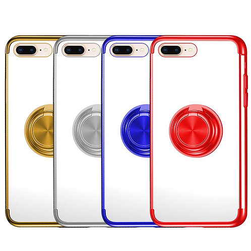 PLATING SOFT TPU PROTECTIVE PHONE CASE WITH RING HOLDER FOR IPHONE 8 PLUS