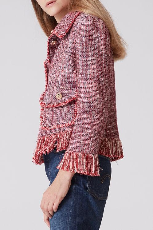 veste tweed femme rouge profil