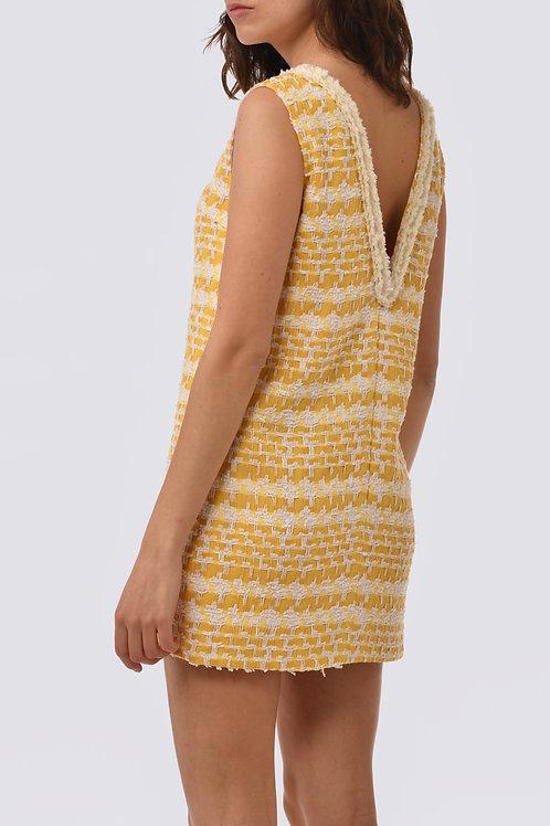 Robe en tweed jaune