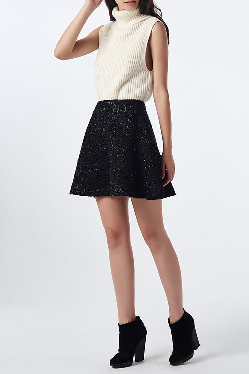 jupe tweed noire evasée devant