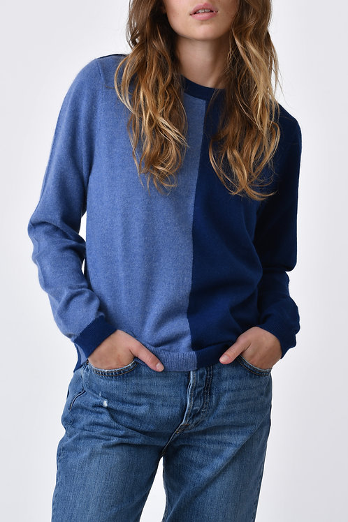 Two-tone 100% Cashmere Sweater