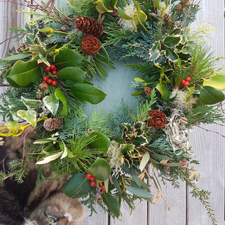 Mollie and Christmas wreath