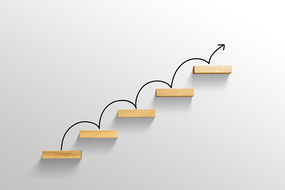 Illustration of progress up a set of steps