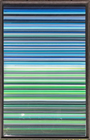 EarlySummer18-  Alternating layers of acrylic paint and art resin in a 29X50 inch browish grey floater frame, $2400.