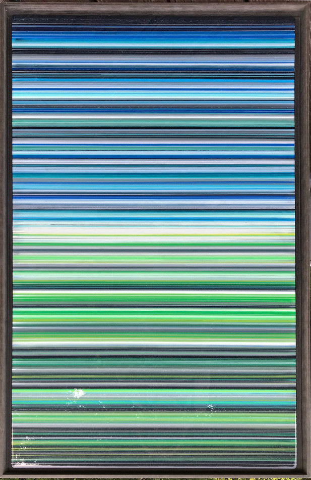12-  Alternating layers of acrylic paint and art resin in a 29X50 inch grey floater frame, $2200.
