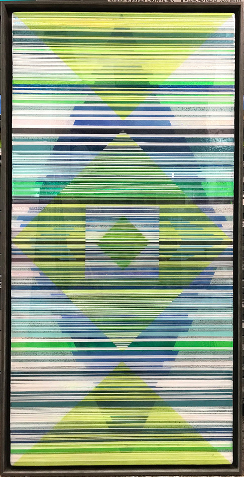 13-  Acrylic paint, holography, and art resin in a 26X50 inch grey floater frame, $2200