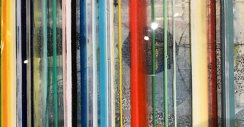 An example of detail from one painting.  Notice the paint suspended subtly at different depths and the metal grit.  Some paint is opaque and some is translucent for further texture variation.