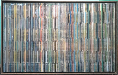 EarlySummer8 - Alternating layers of textured acrylic paint and art resin in a 29X50 inch browish grey floater frame, $2400.
