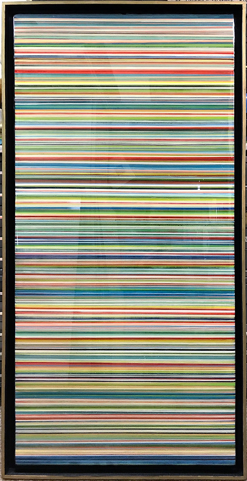 7-  Mainly acrylic paint and art resin in a 26X50 inch gold and black floater frame, $2200