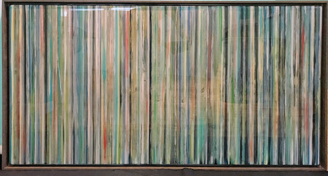 EarlySummer5 - Alternating layers of textured acrylic paint and art resin in a 29X50 inch browish grey floater frame, $2400.