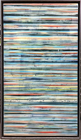 11-  Alternating layers acrylic paint and art resin in a 29X50 inch grey floater frame, $2200