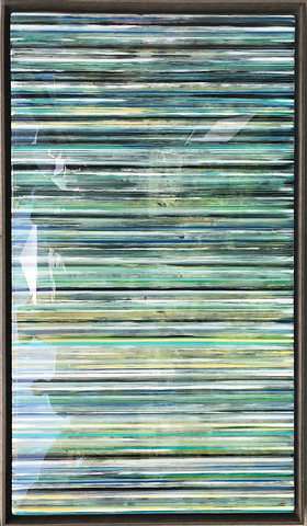 23- Alternating layers acrylic paint and art resin in a 29X50 inch grey floater frame, $2200