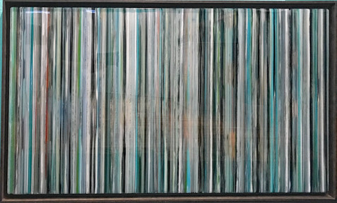 EarlySummer3 - Alternating layers of textured acrylic paint and art resin in a 29X50 inch browish grey floater frame, $2400.
