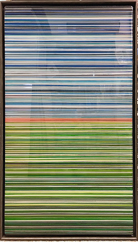 14-  Alternating layers of acrylic paint and clear art resin in a 29X50 inch grey floater frame, $2200.