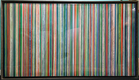 EarlySummer6 - Alternating layers of textured acrylic paint and art resin in a 29X50 inch browish grey floater frame, $2400.