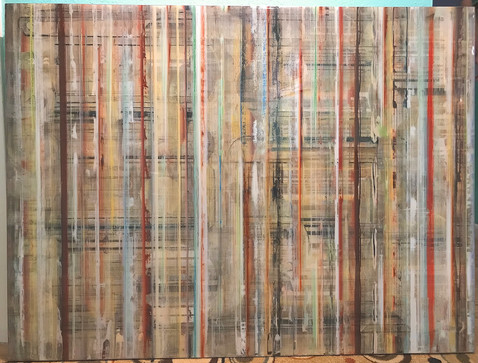 EarlySummer2 - Alternating paint, Prismacolor and clear art resin layers on Baltic birch panel.  Mounted to 48X36X1.5 inch painted wood cradle, $2800.  Winner of  Award of Merit at Winter Park Sidewalk Art Festival 2021.