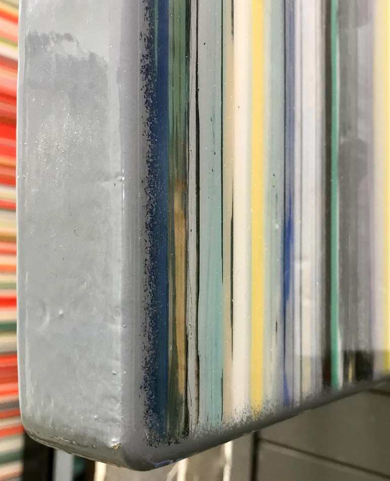 The first six paintings are presented on reinforced cradles with painted edges that are coated with the poured resin.